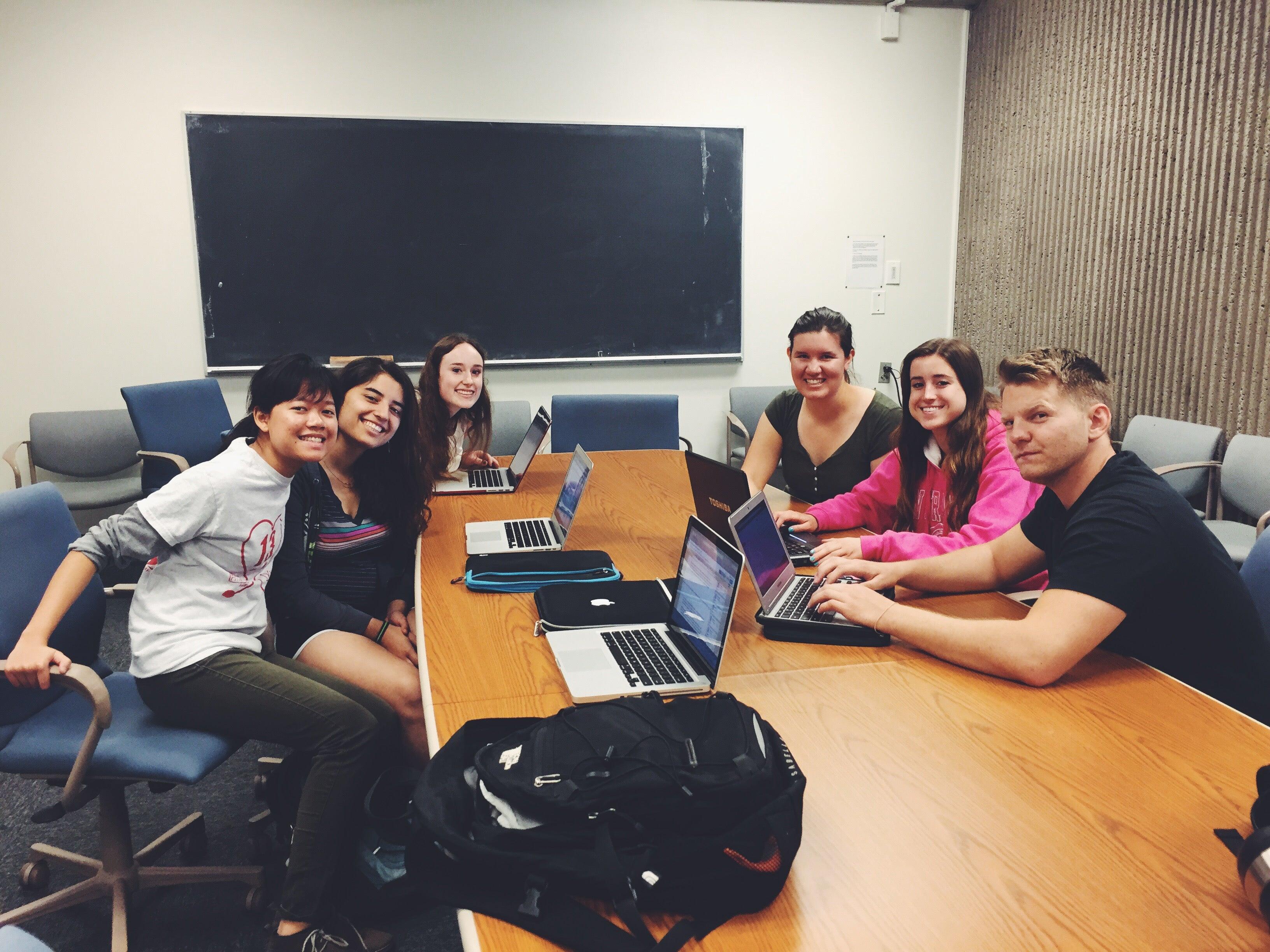 Editorial Board 2014-2015 (Left to right) Hong, Editor, Marisa, Briga, Nicole, David. Not pictured: Natalie