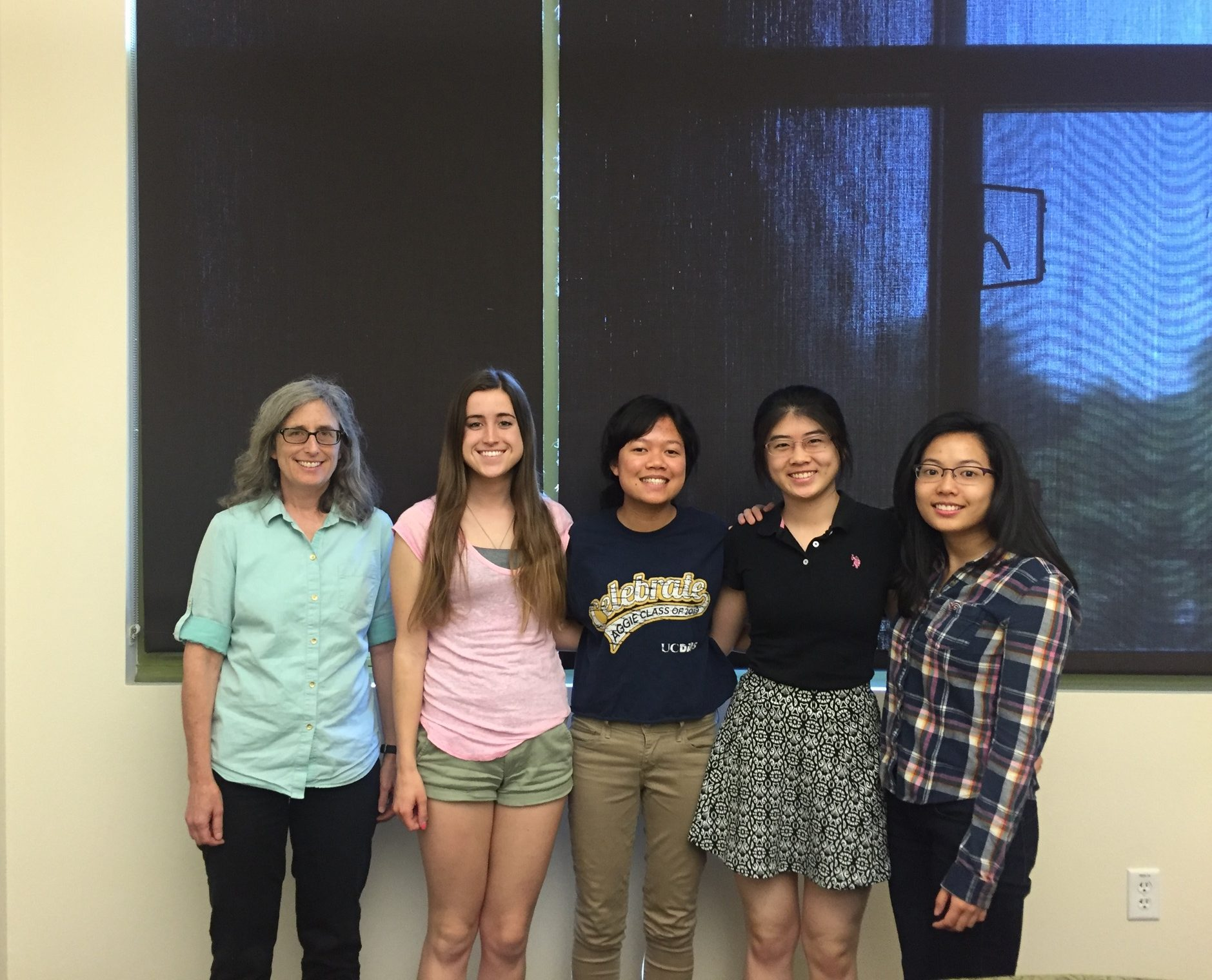 Editorial Board 2015-2016. (Left to right) Dr. Burgess, Nicole, Hong, Lo, Carly